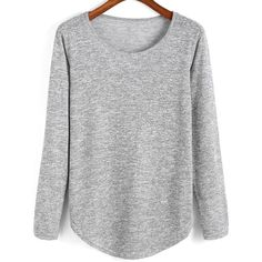 SheIn(sheinside) Grey Round Neck Curved Hem T-Shirt ($12) ❤ liked on Polyvore featuring tops, t-shirts, jumper, grey, long sleeve stretch top, long sleeve t shirts, curved hem tee, long sleeve tee and long sleeve tops