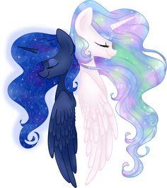 My little pony Celestia and Luna Celestia And Luna, Princess Celestia, Princess Luna, Lynda Barry, My Lil Pony, Mlp Fan Art, Fanart, Little Poney, Mlp Pony