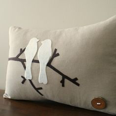 What about felt birds or ornamentation on a burlap pillow cover, could be pretty. What about felt birds or ornamentation on a burlap pillow cover, could be pretty. Felt Cushion, Felt Pillow, Bird Pillow, Burlap Pillows, Sewing Pillows, Decorative Pillows, Applique Pillows, Felt Applique, Felt Crafts