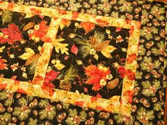 Dramatic Autumn Table Runner with Fall Leaves Pine by susiquilts, $48.00