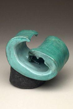 wave ceramic sculpture by Margi Posten Ceramic Studio, Ceramic Art, Kansas City, Sculpture Art, Wave, Pottery, Display, Ceramics, Artists