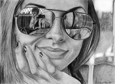 Reflective images embedded in other images drawing sunglasses, high art, ap art, Art Drawings Sketches, Cool Drawings, Drawing Sunglasses, Pencil Drawing Images, Drawing Ideas, Reflection Art, Creation Art, Ap Studio Art, Foto Real