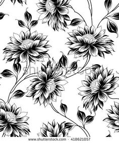 Flowers pattern drawing floral design free printable New Ideas Line Art Flowers, Flower Art, Drawing Flowers, Flower Pattern Drawing, Flower Patterns, Textile Patterns, Print Patterns, Textiles, Adobe Illustrator