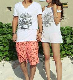 $28.00   Summer men and women couple casual short-sleeved T-shirt