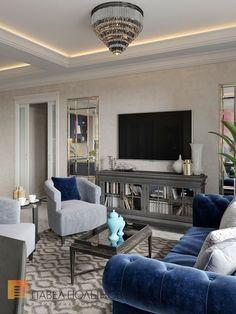 Фото дизайн гостиной из проекта «Дизайн квартиры в жилом комплексе «ММДЦ Москва Сити», американская классика, 120 кв.м.»