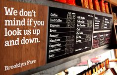 Brooklyn Fare's cheeky signage from mucca Food Branding, Restaurant Branding, Cafe Restaurant, Restaurant Design, Restaurant Ideas, Corporate Branding, Menu Boards, Menu Design, Print Design