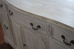 1930's vintage bow front buffet/ dresser/ tv stand in distressed ivory. TheLacyPeacock.etsy.com