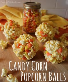 Candy Corn Popcorn Balls - Perfect for Halloween & just 6 ingredients. #Halloween