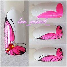 Photo Animal Nail Designs, Butterfly Nail Designs, Butterfly Nail Art, Animal Nail Art, Gel Nail Art Designs, Fancy Nails, Diy Nails, Pretty Nails, Nail Art Modele