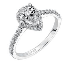Artcarved Bridal: LAYLA, #31-V324, Layla, Classic prong set pear shape halo diamond engagement ring with diamond accented shank  #ArtCarvedBridal