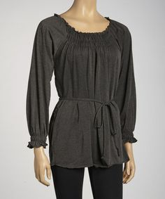 Take a look at this Gray Shirred Peasant Top by Simply Irresistible on #zulily today!