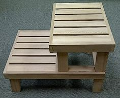 Cedar Sauna Bench/Step Stool, Great looking design, very useable, draws attention.