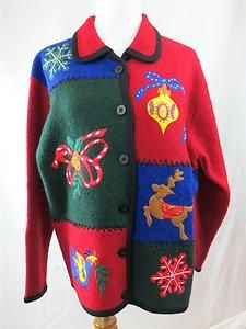 Ugly Christmas Sweater Cardigan New Snowflake Reindeer Holly Large Wool Ornament | eBay $49.95