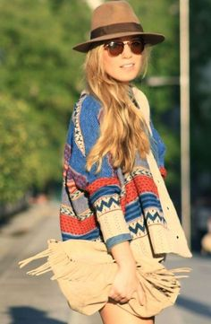 Aztec Tribal Print Sweaters,Blue And Red Aztec Print Sweater for Girls, Tribal print sweater in 2013 Fall/Winter.  #Aztec #tribal #sweater www.loveitsomuch.com