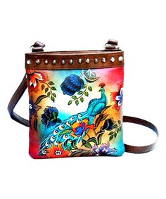 Another great find on #zulily! Pink & Brown Peacock Hand-Painted Leather Crossbody Bag by Biacci #zulilyfinds