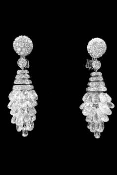 Graff Spectacular diamond gold waterfall earrings | From a unique collection of vintage chandelier earrings at https://www.1stdibs.com/jewelry/earrings/chandelier-earrings/