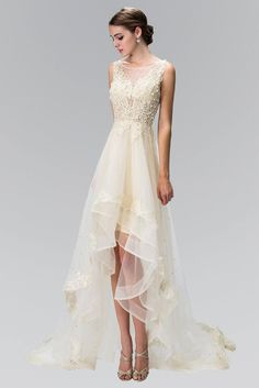 High and low wedding dress gl1426 Affordable wedding dress