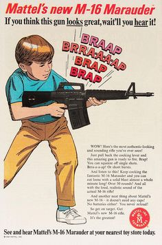 Mattel ad for a machine gun [1967]. My sister's Tammy & Tracy & me had these guns up at my Grandma's cabin in the mountains when we went to stay with her & we got to have free run to terrorize one another! ♡ Ter