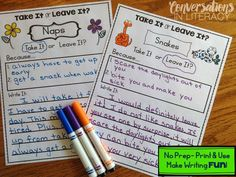 Take It or Leave It$!- fun way to teach opinion writing!