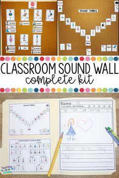 Kindergarten Language Arts, Kindergarten Reading, Teaching Reading, Reading Intervention Classroom, Kindergarten Classroom, Learning, First Grade Classroom, Classroom Word Wall, Sound Wall