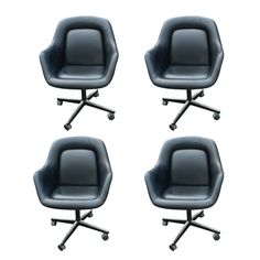 Four Max Pearson For Knoll Black Leather Executive Chairs