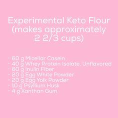 60 g micellar casein 40 g whey protein isolate, unflavored 60 g inulin fiber 20 g egg white powder 20 g egg yolk powder 4 g xanthan gum 10 g psyllium husk (I use powdered) Low Carb Bread, Keto Bread, Low Carb Keto, Ketogenic Recipes, Low Carb Recipes, Keto Flour, Keto Buns, Whey Protein Isolate, Protein Blend