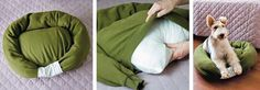 Pet Pillow: In Spanish 1. Take large Sweatshirt, sew neck. Sew under neck about 4 inches. Sew Arms to side. Stuff arms.  Add a pillow, sew bottom.  Add a piece of material to base of arms and sew closed.  Should be washable.