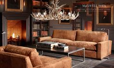 Rooms   Restoration Hardware Distressed Italian leather for a library - cool!