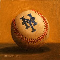 New York Mets Logo Baseball by Darren Maurer New York Mets Logo, New York Mets Baseball, Baseball First, Baseball Stuff, Mlb, My Mets, Baseball Painting, Lets Go Mets, Polo Grounds