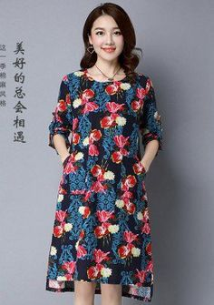 Buy Round Neck Graphic Printed Asymmetrical Dress | mysallyfashion.com Malaysia