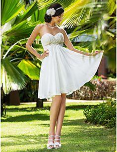 A-line/Princess Knee-length Wedding Dress - Sweetheart Chiff... – USD $ 79.99