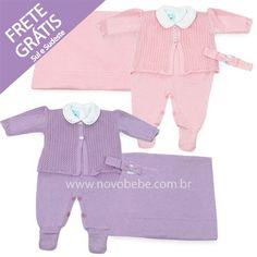 Conjunto Saída de Maternidade com Casaco de Crochet Rosa ou Lilás - Verivê