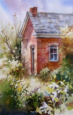Roland Lee watercolor painting of old house in Midway Utah on 600 North Street, painted during Wasatch Plein Air Competition in 2007