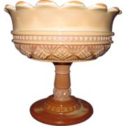 Chocolate Slag Melrose Open Compote Diamond Beaded Band Scallop Rim