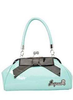 "Keep it classic with the Floozy purse!  This  vintage inspired  light blue, shiny vinyl purse features a 18cm vinyl bow  across the one  side, kiss lock closure, ""Sourpuss"" hardware in silver  & black,  sturdy handles, circular metal feet & satin leopard  print lining.     Made by Sourpuss     Measures 30 x 15 x 10cm"