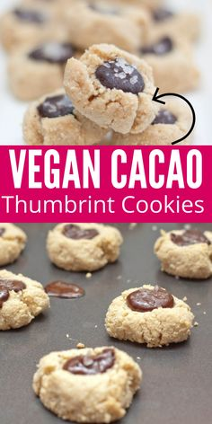 Vegan Cacao Thumbprint Cookies are one recipe you don't want to skip over. A salted cacao thumbrint cookie that is great for a weeknight dessert, holiday baking and more. #cacao #vegan #thumbprint #cookies #recipe #dessert #salted Best Holiday Cookies, Holiday Cookie Recipes, Best Cookie Recipes, Best Dessert Recipes, Holiday Baking, Holiday Treats, Christmas Cookies, Baking Recipes, Cold Desserts