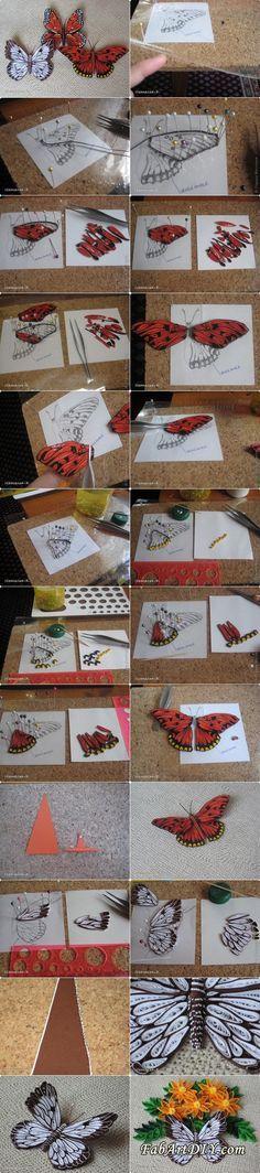DIY 3D Quilled Butterflies - http://www.dollarstorecrafts.me/diy-3d-quilled-butterflies-www-fabartdiy-com/