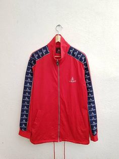 Vintage 90s Le Coq Sportif Red Color With Sportswear Sleeve