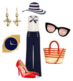 """navy style"" by olga-xo on Polyvore featuring Valentin Magro, Marc Jacobs, Ted Baker, Tory Burch, Christian Louboutin, Quay и Piaget"