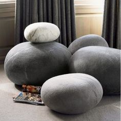 eclectic ottomans and cubes by VivaTerra.  I could make those!