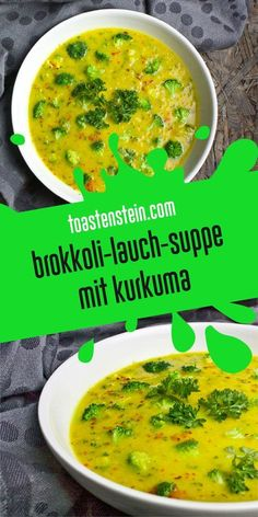 Brokkoli-Lauch-Suppe mit Kurkuma The remedy for nasty cold: broccoli and leek soup with turmeric // Vegetable Soup Healthy, Healthy Soup, Healthy Snacks, Healthy Eating, Healthy Cooking, Soup Recipes, Diet Recipes, Vegetarian Recipes, Healthy Recipes
