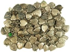 Collection  of Antique Sterling Siver Puff Hearts wow!
