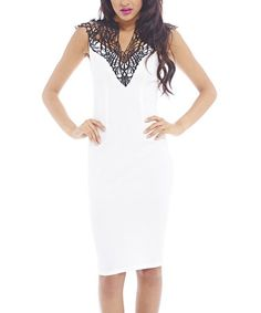 Another great find on #zulily! Cream & Black Lace-Neck Midi Dress by AX Paris #zulilyfinds