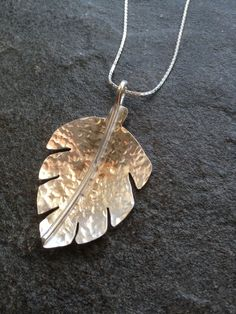 Sterling silver leaf pendant with hammered finish