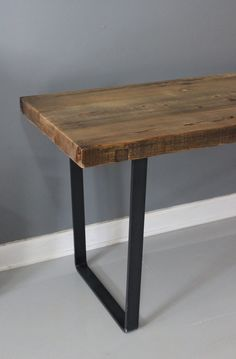 Metal Leg Table, Dining Table, Reclaimed Wood, Industrial Steel, Thick Wood, Industrial Table, Wood Table on Etsy, $510.00