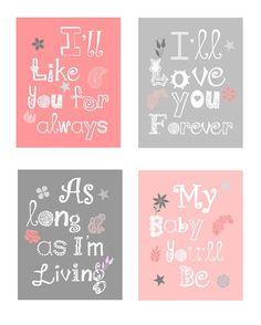 Pink and Gray Art Flower Nursery Art Prints I'll by LittlePergola, $49.00