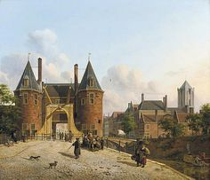 Jan Hendrik Verheijen (Utrecht, 1778-1846), View of the Weerdpoort in Utrecht with the St. Jacobskerk in the distance
