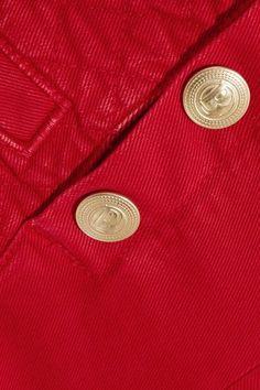 Pierre Balmain - Button-detailed Quilted Denim Shorts - Red