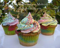 Mari's Cakes: SUSPIRO MULTICOLOR y Cupcakes de ARCO IRIS
