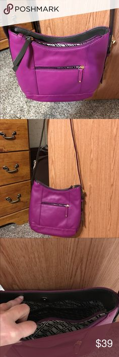 Tignanello leather Pop Star Hobo crossbody Pop star purple with adjustable strap, so functional.  Top entry with strong magnetic snap  Adjustable shoulder strap  Top compartment with zip entry  Front slip pocket and back zip pocket  Inner zip pocket, 2 inner slip pockets  Inner zip pocket, 2 inner open pockets Tignanello Bags Crossbody Bags